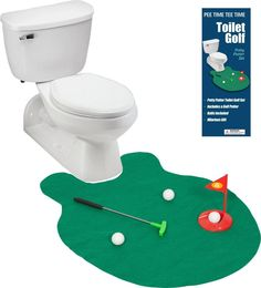 EZ Drinker Toilet Golf ==> Toilet Golf. Play Golf on the Toilet. Hilarious gift for any golfer and anyone that uses the toilet! Practice your putt on our mini course any time you are on the toilet.