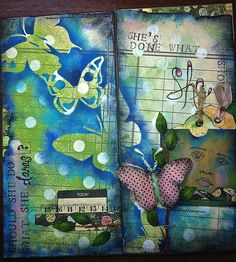 """art journal.  """"she's done what she should.  should she do what she dares?""""....reba   the dimension of the butterfly that has grown into its colorful self (pink) isn't as noticeable in the photo.  also has a pocket for tags to tuck in secret journaling."""