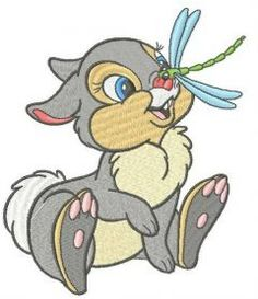 Thumper with dragonfly machine embroidery design. Machine embroidery design. www.embroideres.com