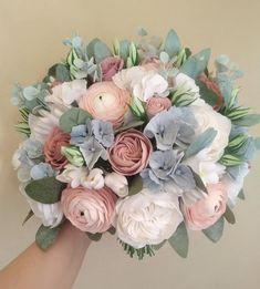 Dusty rose wedding bouquet, soft pink ranunculus, peony bouquet, dusty blue bouquet, Garden roses we Flower Crown Bride, Bride Flowers, Bridesmaid Flowers, Pink Flowers, Wedding Flowers, Pink Roses, Blue Peonies, Sugar Flowers, Tea Roses