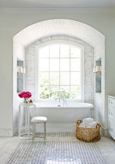 Gorgeous bathroom by Mark Williams Design uses three different marble tile patterns.