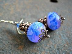 Lampwork Glass Earrings, Lush Blueberry Orchid, Swirls & Waves, Natural Copper, Art Glass Beads. $38.00
