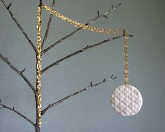 porcelain cross medallion water etched gold by RemnantCeramics