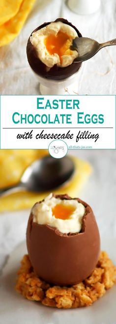 Chocolate Easter eggs are filled with cheesecake for the egg white and apricot sauce for the yolk. Adorable and delicious German Easter treat. | allthatsjas.com | #Easter #chocolateeggs #nobakecheesecake #dessert #funfood #sweettreat #homemade #DIY