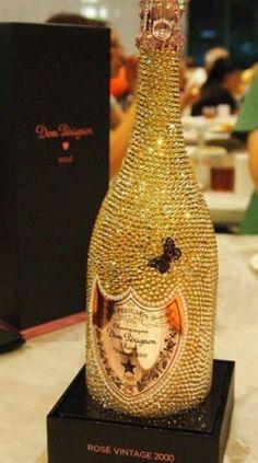 Gold Diamond encrusted Dom Perignon Champagne