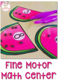 Fine motor Math Center. Fun, fast, and easy math center for kindergarten. Students use tweezers to place the correct number of seeds on each watermelon. Perfect for RTI groups or guided math fast finishers.