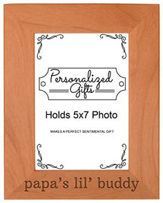 Grandpa Gift Papas Lil Buddy Grandson Natural Wood Engraved 5x7 Portrait Picture Frame Wood Birthday Gifts For Grandma, Mom Gifts, 65th Birthday Gift, Daddy Gifts, Grandma Gifts, Picture Frames For Sale, Picture Frames Online, Picture Frame Sizes, Collage Picture Frames