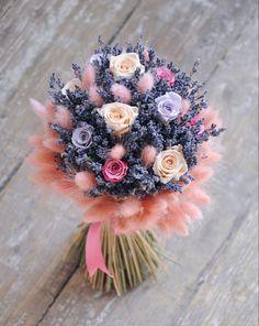 Букет из роз с лавандой