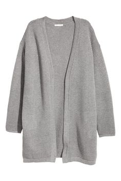 Rib-knit cardigan in a soft cotton blend with dropped shoulders and long sleeves.