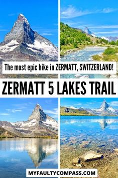 5 beautiful lakes, the mighty Matterhorn, snowy mountains and impressive glaciers - all await you on this lovely 5 lakes hike in Zermatt! The panoramic landscape views, the variety of the trail, the reflections of the Matterhorn in 3 of the lakes, the opportunity to swim in 2 of them, all make for a wonderful day out in the mountains. Hiking in Switzerland | Hiking in Zermatt | Best trails in Switzerland | Best things to do in Zermatt | Things to do in Switzerland #myfaultycompass… Europe Destinations, Europe Travel Guide, Travel Guides, Travelling Europe, Holiday Destinations, Cool Places To Visit, Places To Travel, Places To Go, Switzerland Travel Guide