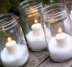 you can put these on the table around your centerpieces. either use mason jars or another kind of jar. the mason jar is more rustic, but i'm not sure if that's what you're going for. using the epsom salt as snow though is a cute idea. easy and cheap t