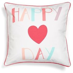 Levtex 'Happy Day' Pillow ($39) ❤ liked on Polyvore featuring home, home decor, throw pillows, pink, pink accent pillows, square throw pillows, pink throw pillows, pink toss pillows and pink home decor