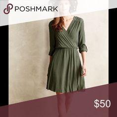 Maeve Anthropologie Lene dress in Moss green Maeve Anthropologie Lene dress in Moss green Anthropologie Dresses Midi