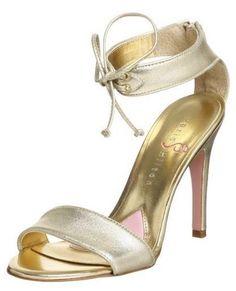 WOMEN PARIS HILTON Epic strappy heels 7.5M NEW gold metallic  #ParisHilton #LaceUps