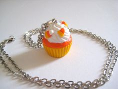 Halloween Necklace candy corn cupcake necklace by TheFaidrinBear