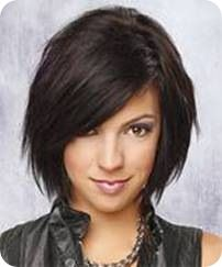 choppy bob with jagged layers. The bangs in front fall tapered and diagonal on the side and the hair towards the edges in front are longer in length than the hair at the back.