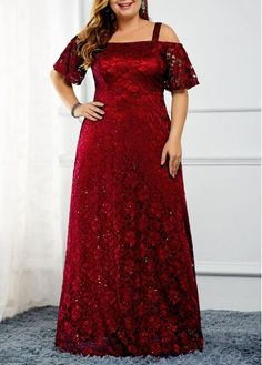 Plus Size Sequin Embellished Cold Shoulder Lace Dress Plus Size Dresses, Plus Size Outfits, Trendy Dresses, Plus Size Gala Dress, Gowns For Plus Size Women, Evening Dresses Plus Size, Cheap Dresses, Plus Size Kleidung, Spandex Dress