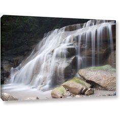 ArtWall Dan Wilson New York- Rattlesnake Gulf Waterfall  Gallery-Wrapped Canvas, Size: 32 x 48, Green