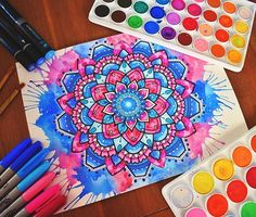 Hey guys! Hope you like this blue and watercolour mandala Thank you for always being so supportive and awesome, have an awesome day and make sure you tell me what you think below along with where you are from! #mandala#watercolour#zentangle#drawing