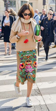 Tan ribbed knit sweater, suede embroidered floral skirt, white Stan Smith sneakers