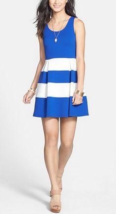 Super cute blue and white striped dress by soprano