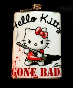 BAD HELLO KITTY FLASK STAINLESS STEEL 8OZ HIP FITS IN PURSE HANDBAG BAG FH0