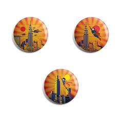 Magnet Rond Illustration Super Héros - 3X Différents Magnets Ronds Diamètre 56mm Frigidaire Aimant Cuisine Décoration Enfant Jeunesse