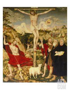 Altar Der Peter- Und Paulkirche in Weimar. Mitteltafel: Christus Am Kreuz Giclee Print by Lucas Cranach the Elder at Art.com