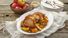 Seared Pork Chops with Roasted Apples and Sweet Potatoes