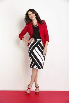 Graphic Stripe Pencil Skirt #CleoFashion www.cleo.ca