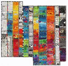 In this series, I explore color juxtaposition, linear design, and pattern. Color energizes and delights me, and will always pull me in to create. Strip Quilts, Panel Quilts, Scrappy Quilts, Bright Quilts, Colorful Quilts, Quilting Projects, Art Quilting, Sewing Projects, Quilting Ideas