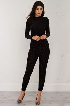 615520a9d40461 Front View Long Sleeve Velvet Embossed Jumpsuit in Black Black Velvet  Jumpsuit
