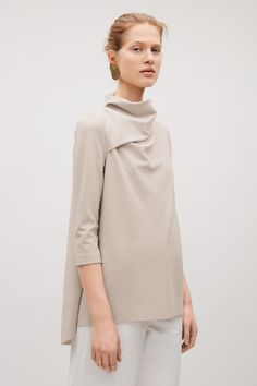 COS image 2 of Drape collar A-line top in Mole