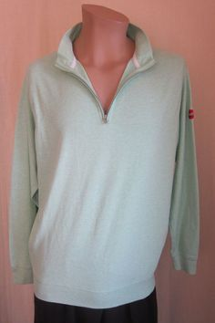PETER MILLAR 1/2 Zip Mint Green Logo Golf 100% Cotton Pullover Sweater L Large #PeterMillar #12Zip