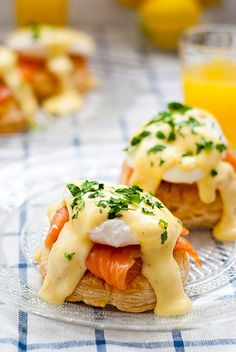 Eggs benedict pastries with smoked salmon - The recipe attached to this is just for the hollandaise sauce, but I suspect some puff pastry and a cookie cutter would do this.... So completely up Ryan's alley. He loves pastry and smoked salmon, why not put them together? :)