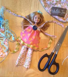 how to make a Stacie (Barbie) doll outfit from an old, worn out Matilda Jane Clothing dress #upcycle #mjc #matildajane #dollclothes