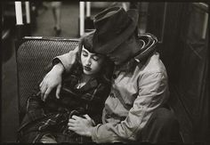Couple on a subway, New York City 1946 by Stanley Kubrick.