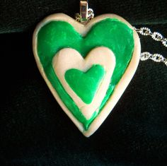 "ST PATRICK""S DAY heart pendant,for those who have their heart into celebrating this Irish holiday.Not everyone is a shamrock girl . for you. by Carrolcreates4u on Etsy"