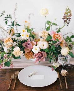 Spring Wedding Tablescape | Romantic Table Setting Ideas | Wood Table with Table Runner | Flowy Table Runner | Wild Floral Centerpiece Inspiration | Romantic Tablescape | Stylish Dining Table | Romantic Wedding Reception Table Decor Ideas | Light Pink and Wood Color Palette Wedding
