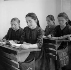 Greece, girls reading at desks in classroom in Métsovon. Between 1937 and Photographer Harris, Eugene V., American Geographical Society Library, University of Wisconsin-Milwaukee Libraries Historical Clothing, Historical Photos, School Days, Old School, University Of Wisconsin, Library University, Life In The 1950s, Greece Photography, Vintage School