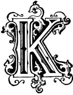 K, Ornamental letter | ClipArt ETC
