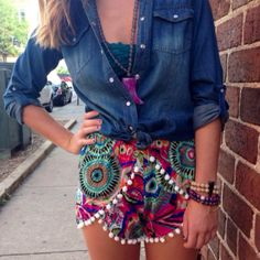 Throw on a chambray with our pom pom shorts for a pop of color to a classic summer outfit! cheekypeachathens.com