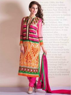 Multi Color Georgette Suit With Resham Embroidery Work