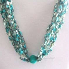 #Crochet Necklace Mint Green #Boho #Necklace
