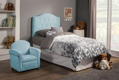 Isaac Collection Baby Blue Twin Size Headboard 405024T