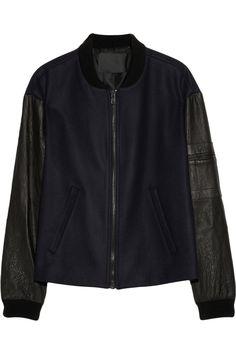 A.L.C.|Leather-sleeved wool-blend felt bomber jacket|NET-A-PORTER.COM