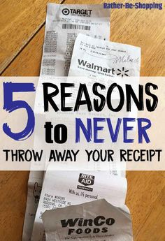 5 Reasons To Never Throw Away Your Receipt Best Money Saving Tips, Ways To Save Money, Money Tips, Saving Money, How To Make Money, Receipt Organization, Ideas Para Organizar, Savings Challenge, Frugal Tips