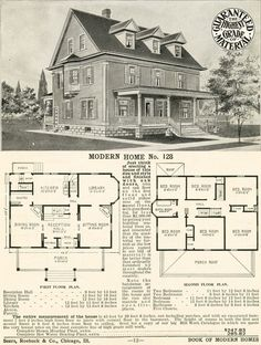 Sears No 128 1908 version. Modernize by combining two bedrooms for master suite & adding downstairs powder room. Architecture Design, Architecture Drawings, Building Plans, Building A House, Sears Catalog Homes, Vintage House Plans, Second Empire, House Blueprints, American Houses