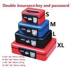 87.00$  Watch now - http://aligq4.worldwells.pw/go.php?t=32723758262 - 30cm*24cm*9cm XL Code Metal portable small cashbooks cash boxes storage piggy bank mini safes  locks jewelry box
