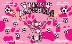 Pink Panthers B53089  digitally printed vinyl soccer sports team banner. Made in the USA and shipped fast by BannersUSA.  You can easily create a similar banner using our Live Designer where you can manipulate ALL of the elements of ANY template.  You can change colors, add/change/remove text and graphics and resize the elements of your design, making it completely your own creation.